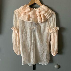 Dolce & Gabbana D&G 100% silk ruffle blouse 34/ 2